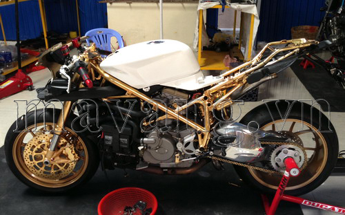 Xe Ducati độ, độ xe Ducati, độ xe máy, Ducati 848 Evo, độ xe mạ vàng
