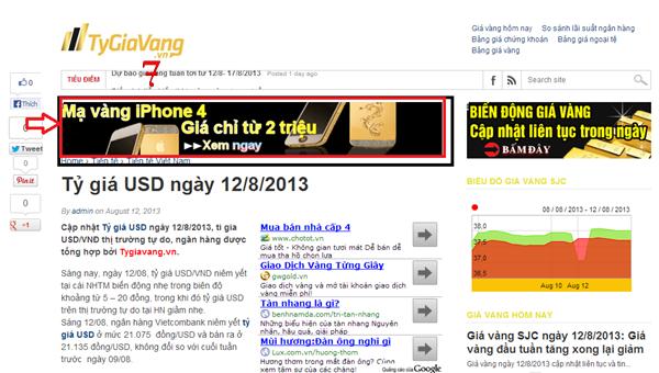 giá vàng, bảng quảng cáo trên site gia vang
