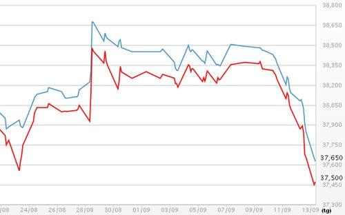 Giá vàng SJC hôm nay ngày 13/9/2013 rớt thảm
