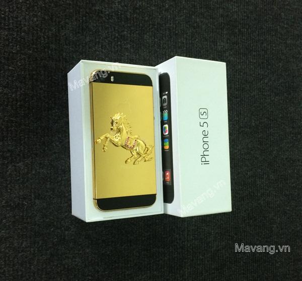 iPhone 5s mạ vàng, iphone 5s đúc ngựa vàng nguyên khối, iphone 5s mạ vàng 24K