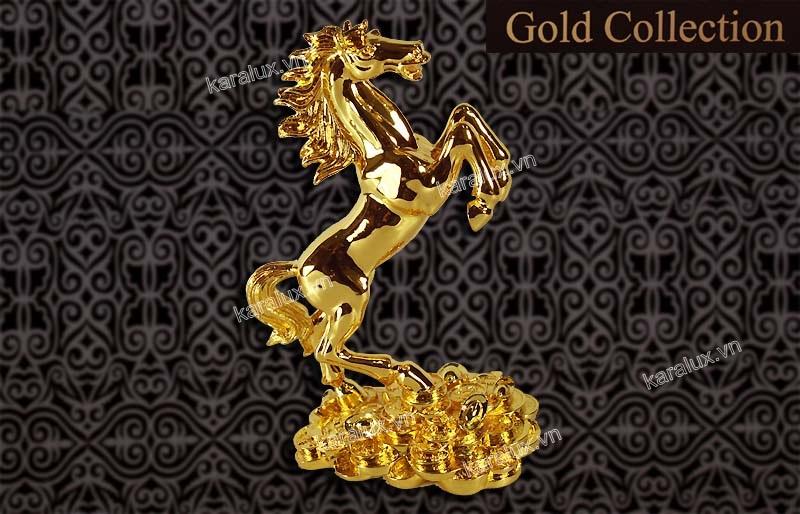 Ngựa phong thủy dát vàng, linh vật ngựa mạ vàng 24K