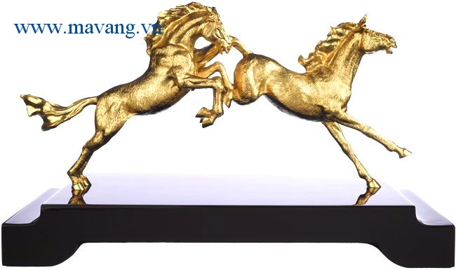 ngựa mạ vàng 24K, linh vật ngựa phong thủy dát vàng 9999
