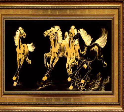 Tranh mạ vàng 24k, tranh ngựa phong thủy