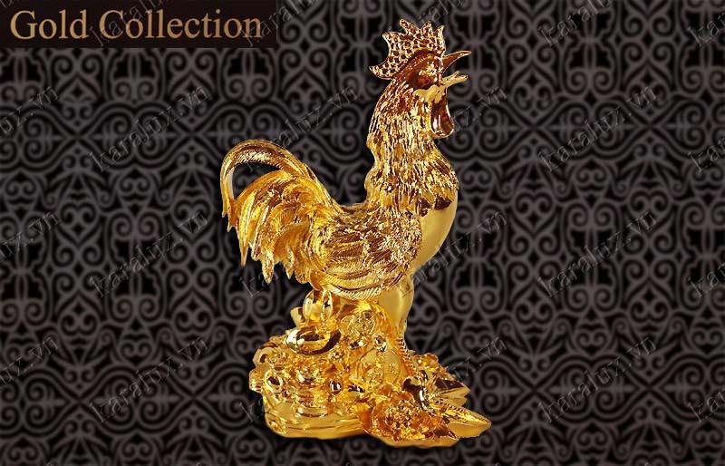 Tượng gà mạ vàng 24k, Linh vật gà, gà phong thủy