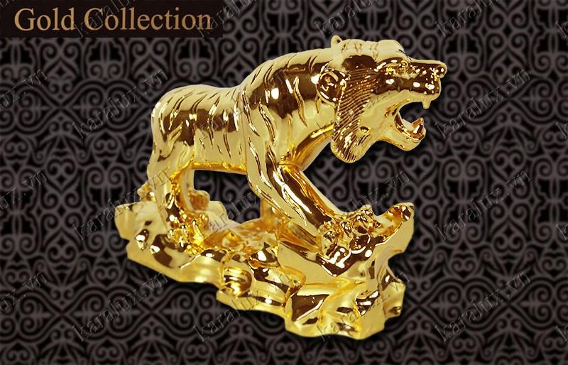 Tượng hổ phong thủy đúc đồng mạ vàng 24k, Linh Vat Ho Phong Thuy Ma Vang