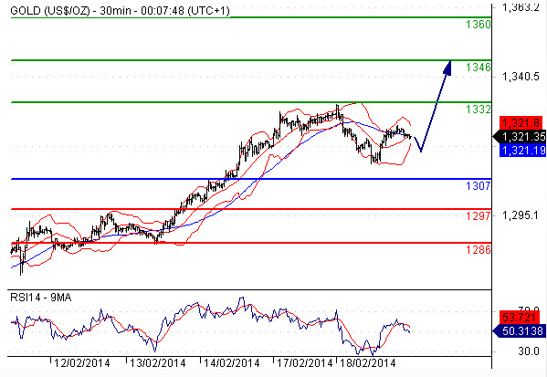 Chiến lược giao dịch vàng ngày 19/02/2014 của một số tổ chức