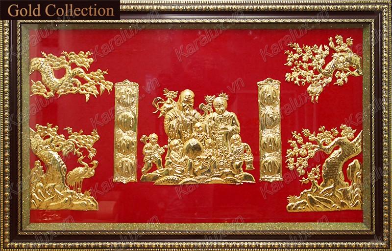 tranh chữ thọ mạ vàng, tranh mạ vàng, tranh mừng thọ, quà tặng mừng thọ mạ vàng 24k