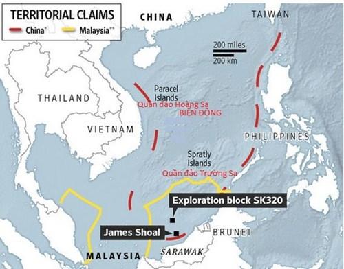 Vị trí lô khí đốt SK320 Malaysia vừa phát hiện và đưa vào khai thác và đường lưỡi bò bất hợp pháp của Trung Quốc ở Biển Đông (đường 9 đoạn màu đỏ), và yêu sách vùng đặc quyền kinh tế, thềm lục địa của Malaysia (đường màu vàng)