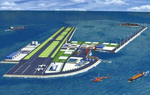 """Hình ảnh đồ họa về cái gọi là """"tàu sân bay không bao giờ chìm"""" ở Gạc Ma được truyền thông nhà nước Trung Quốc đăng tải, tờ Apple Daily Hồng Kông cho biết."""