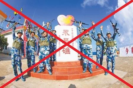 Lính Trung Quốc đồn trú bất hợp pháp trên đá Chữ Thập trong quần đảo Trường Sa thuộc chủ quyền Việt Nam.