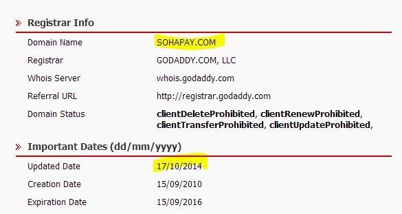Dường như tên miền sohapay.com đã bị 'thay đổi' chủ sở hữu vào ngày 17/10 (Ảnh: VnReview)