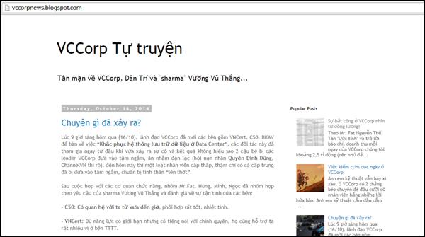 Kể từ tối ngày 17/10, tên miền Sohapay.vn bị chuyển hướng sang blog VCCorp tự truyện với nội dung 'nhạy cảm'. (Ảnh chụp ngày 18/10)