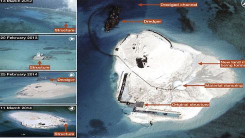 Dự án lấp biển xây đảo trên bãi đá Chữ Thập thuộc quần đảo Trường Sa là một trong số những dự án mà Trung Quốc thực hiện nhiều tháng qua (Ảnh CNES)