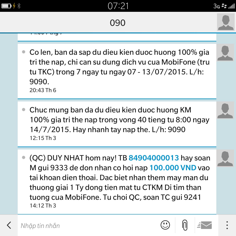 Thuê bao nhận được thông báo khuyến mại tặng 100% giá trị thẻ nạp  Mobifone từ chương trình thách thức tuần