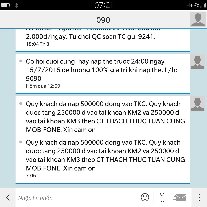 Mình đã nạp 500k và được tặng 500k vào tài khoản khuyến mãi từ chương trình thách thức tuần cùng Mobifone.