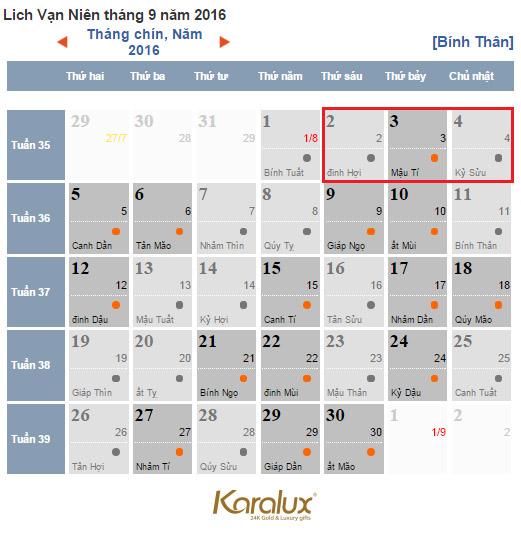 lich nghi le 2-9-2016, Lịch nghỉ lễ ngày Quốc khánh 2/9/2016