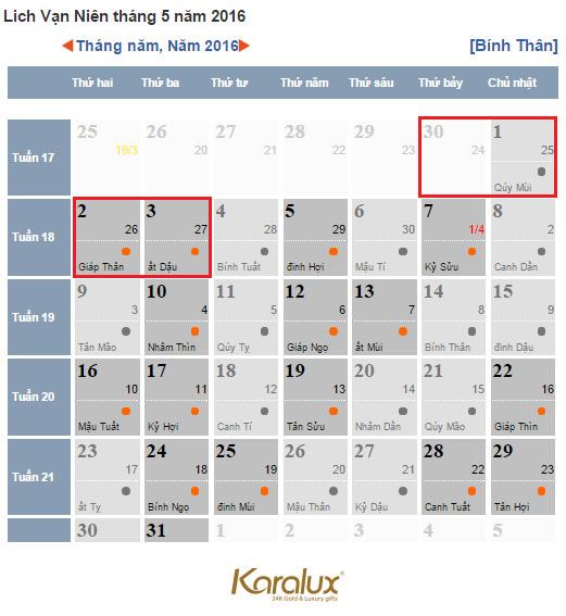 lich nghi le 30-4 va ngay 1-5, Lịch nghỉ lễ 30/4 và 1/5 năm 2016