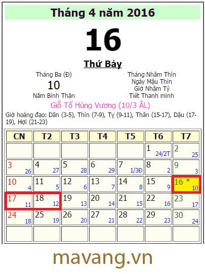 lich nghi mung 10-3, Lịch nghỉ Giỗ tổ Hùng Vương 10/3 năm 2016
