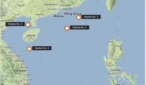 Vị trí 4 giàn khoan mà Trung Quốc thông báo dịch chuyển trên Biển Đông.